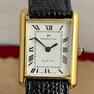Vintage Hamilton Swiss 18KGP Gold Tank Watch